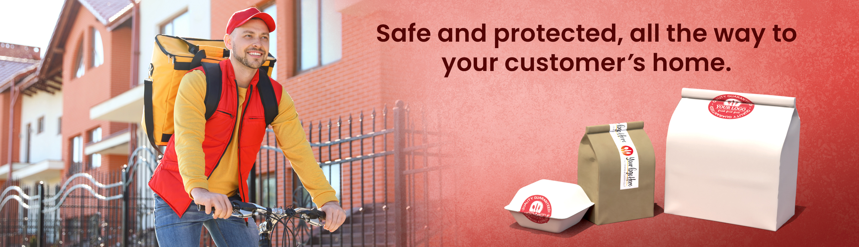 """Delivery driver on bike with text """"Safe and protected, all the way to your customer's home"""""""
