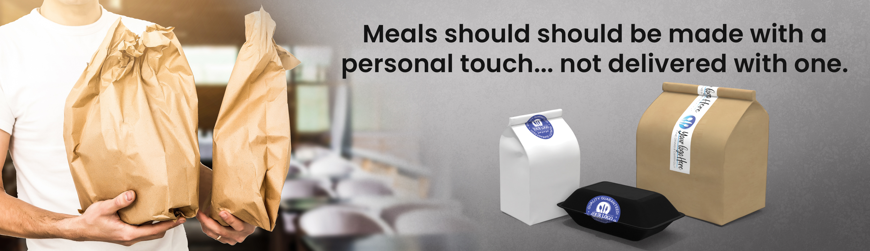 "Takeout containers with text ""Meals should be made with a personal touch... not delivered with one"""